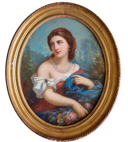 Ecole italienne  Portrait de femme  Pastel...