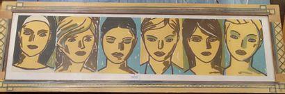 Paul Bessis, Suite de cinq portraits féminins, Reproduction, Dans un cadre pein...