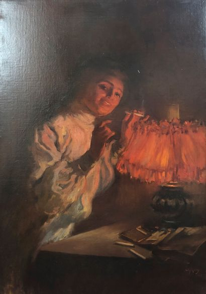 Ecole MODERNE vers 1900  Femme allumant sa...