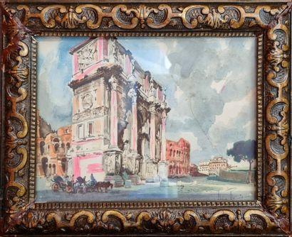 44 Ecole Italienne  Vues de Rome  Paire d'aquarelles signée en bas à droite  14...
