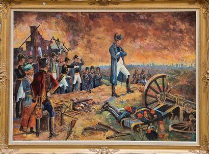 Travail dans le gout du XIXe  Napoléon, campagne de Russie  Huile sur toile signée...