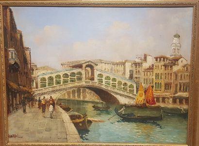 Luigi LANZA (Venise 1860-? 1913)  Le pont...