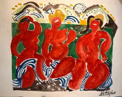 Louis LATAPIE  Lot de sept œuvres sur papier...