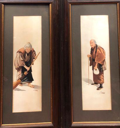 Paire d'aquarelles représentant deux vieillards...