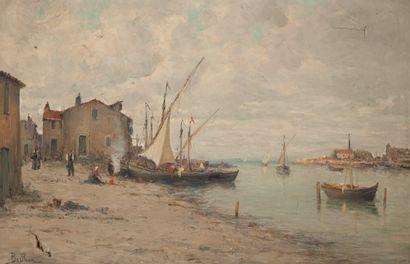 Auguste Berthon, Village portuaire, Huile sur toile (accidents), 51 x 81 cm.