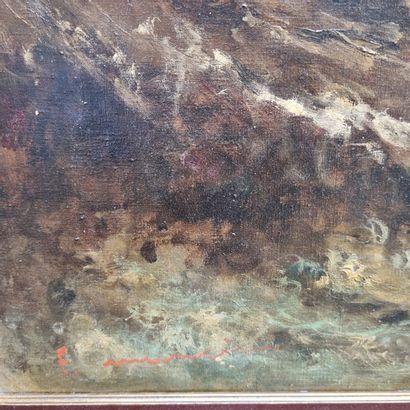 Travail moderne  Tempête en bord de mer  Huile sur toile signée en bas à gauche...