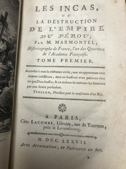 Deux volumes Les Incas  Marmontel, 1777