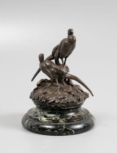 Ecole Française fin 19° : Deux faisans.  Bronze...