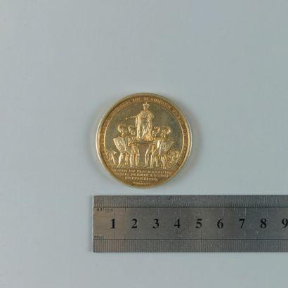 Premier empire. Médaille en argent doré,...