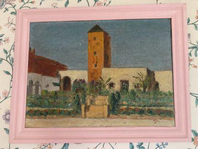 DUFOUR (XIX-Xxe)  La mosquée  Huile sur carton...