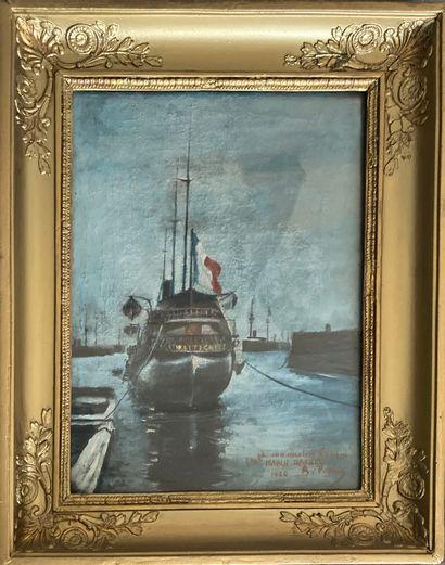 Ecole Française vers 1920  Navire au port...
