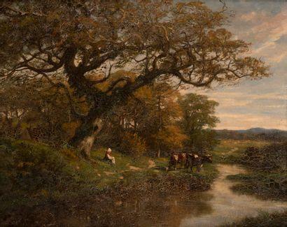 Ecole de Barbizon  Le repos au bord de l'étang...