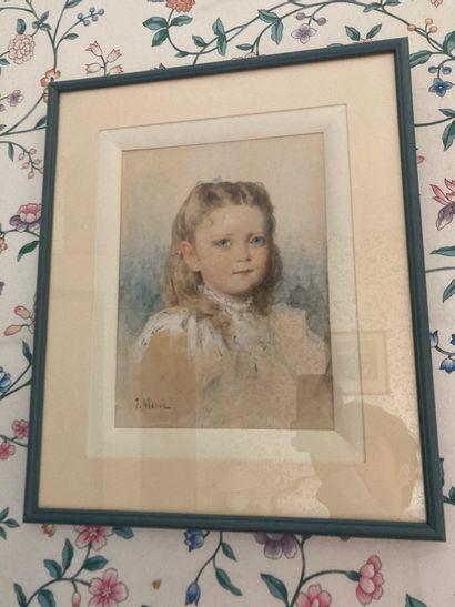 I. MASSE  Portrait de jeune fille  Gouache...