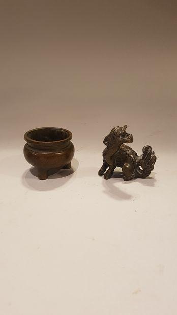Lot comprenant une sculpture en bronze de...