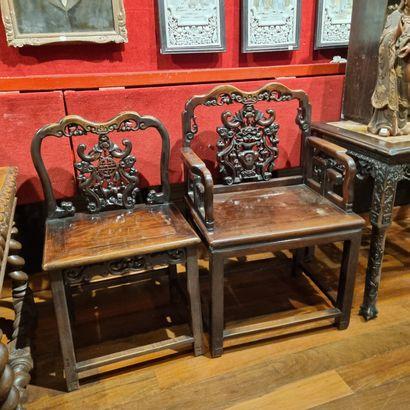 Salon en bois exotique, composé de deux...