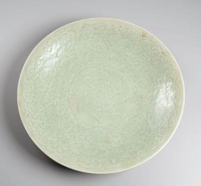 CHINE  Plat en celadon  XIXeme siecle  D...
