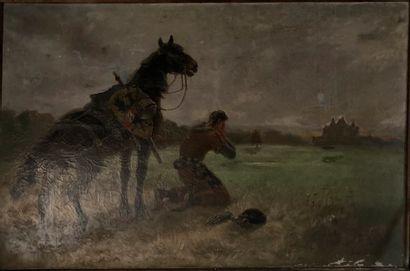 Ecole Française vers 1900  Le retour du chevalier...