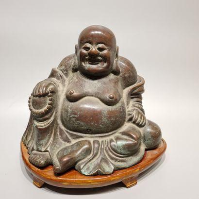 CHINE  Bouddha  Bronze  H : 21 cm.