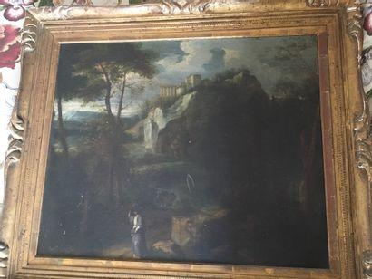 Ecole Française du XVIIe siècle  Paysage animé  Huile sur toile  48 x 60 cm.