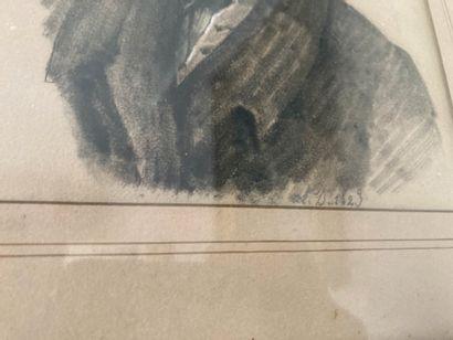 """Ecole française du XIXe siècle  Portrait d'homme  Fusain  Daté """"1823""""  20 x 15 ..."""