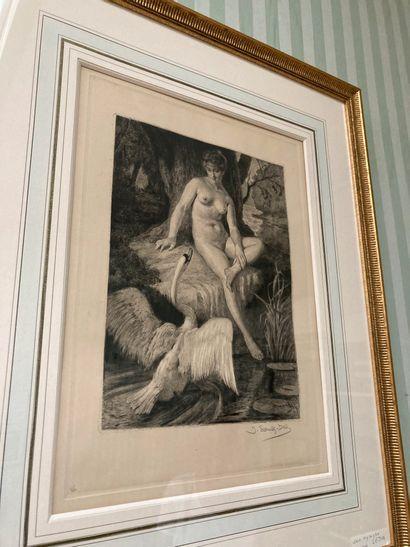 Jacques Georges SCHULTZ-DAL (1894-?)  Leda et le cygne  Eau-forte  Signé au crayon...