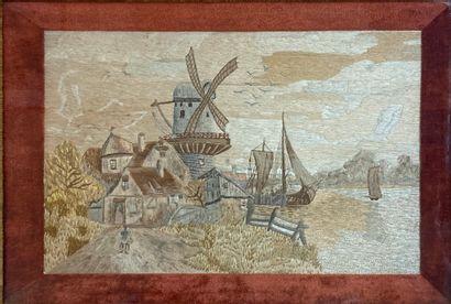 Paysage au moulin  Peinture à l'aiguille...