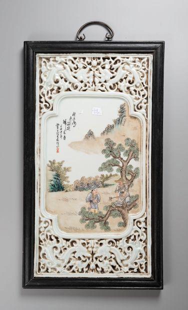 CHINE  Six plaques d'ornement à scene de...
