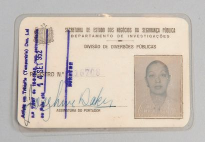 Joséphine BAKER (1906-1975)    Carte du secrétariat d'état à la sécurité publique...