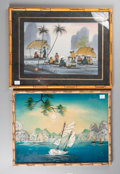VIETNAM  Jonques  Deux panneaux  43 x 33...