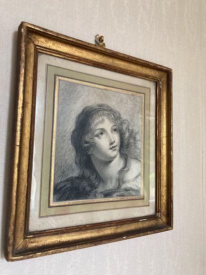 Ecole française du XIXe siècle  Tête de jeune femme  Mine de plomb