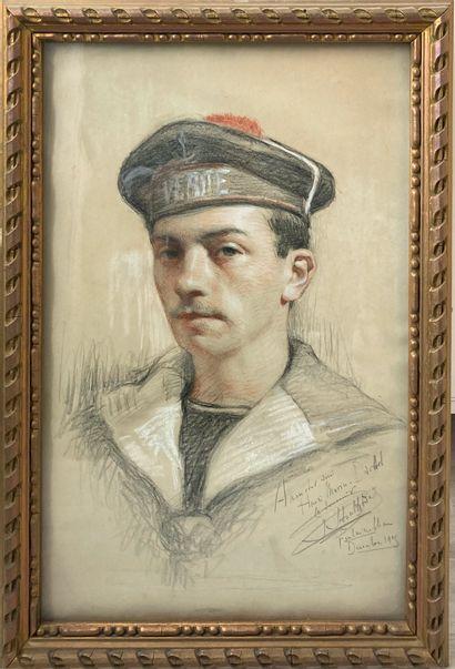 Portrait de Henri Marin-Darbel  Sanguine,...