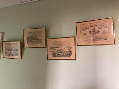 Ensemble de pièces encadrées diverses, paysage (nouvelle-calédonie) et divers