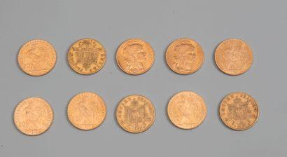 10 pieces de 20 francs or - Photo généri...