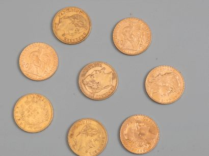 8 pieces de 20 francs - Photo générique