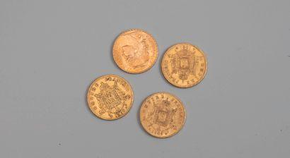 4 pieces de 20 francs or - Photo génériq...