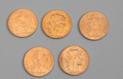 5 pieces de 20 francs or - Photo génériq...