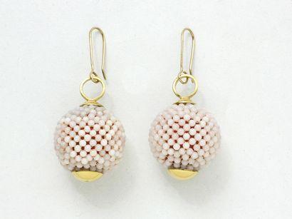 Paire de pendants d'oreilles en or 750 millièmes,...
