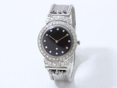 Montre bracelet d'homme en or gris 585 millièmes,...