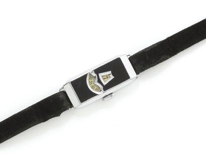 Montre bracelet de dame en métal chromé,...