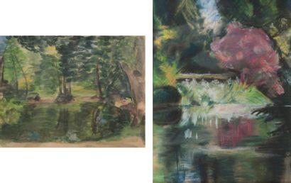 Paysages Un pastel et une aquarelle sur papier...