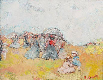 René SINICKI (né en 1910) Sous l?ombrelle Huile sur toile, signée en bas à droite,...