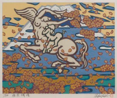 Tatsuo FUTAESAKU Pégase Lithographie, signée et marquée su cachet de l?artiste en...