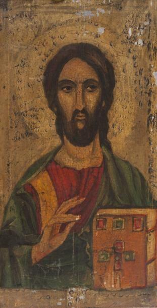 Icône grecque Le Christ Huile sur bois 32...