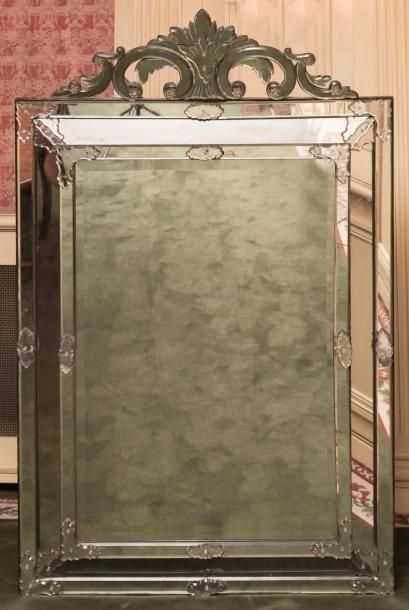 Grand miroir rectangulaire à pare closes...