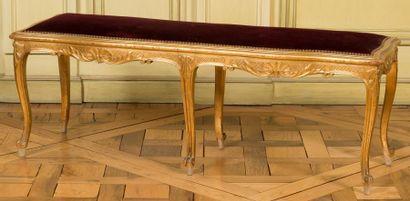 Banquette rectangulaire en bois sculpté et...