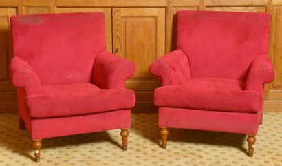 Paire de fauteuils confortables garnis d?alcantara...