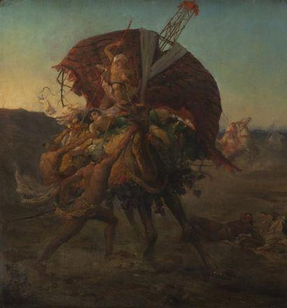 Attribué à Gustave Achille GUILLAUMET (1840-1887) L?attaque de la caravane Huile...
