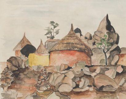 Revel RAWSEL (ou Mevel Roussel) Village de Maroua, 72 Aquarelle sur papier, signée...