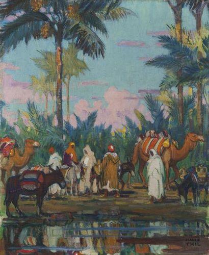 Jeanne THIL (1887-1968) Oasis de Gabes Huile sur toile, signée en bas à droite 65...