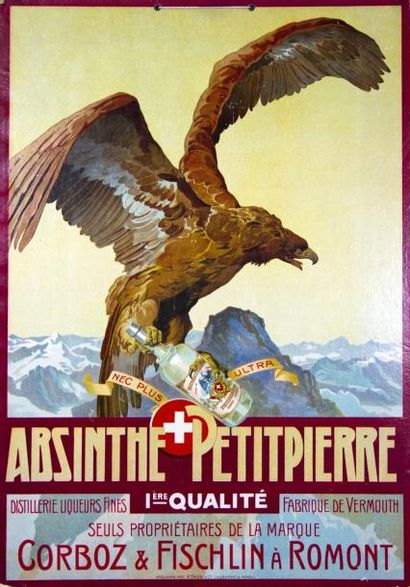 ABSINTHE PETITPIERRE - Carton publicitaire,...